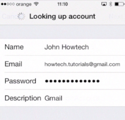 filling in the new account details on iPhone running on iOS 7