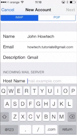 filling in IMAP details on iPhone running on iOS 7