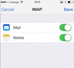 syncing email features with iPhone running on iOS 7