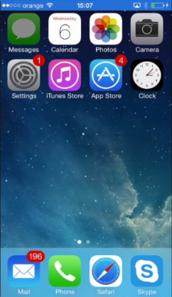 "tapping the ""Messages"" app on iPhone running on iOS 7"
