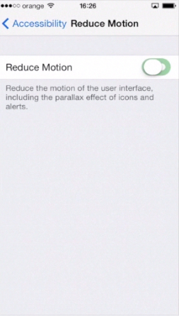 "toggling ""Reduce Motion"" to ""ON"" on iPhone running on iOS 7"