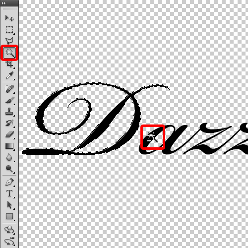 applying the magic wand tool on the text