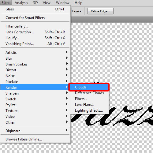 applying clouds filter to the text layer