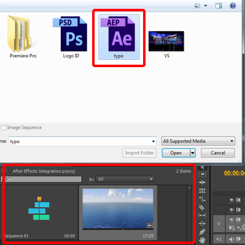 Importing After Effects in Premiere