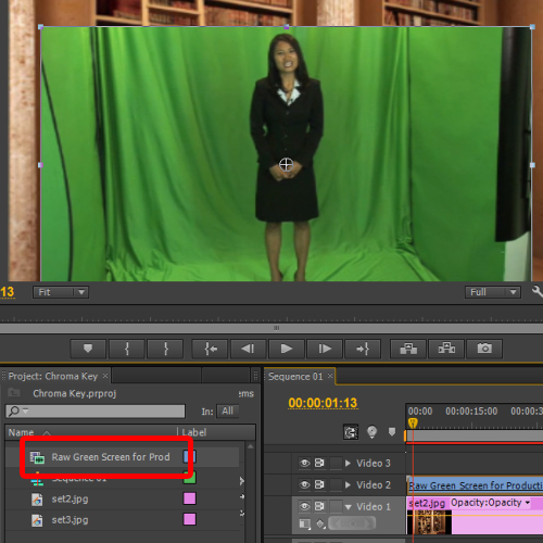 adding the green screen footage to the timeline