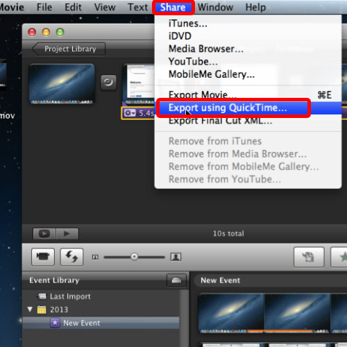 Export the movie using QuickTime