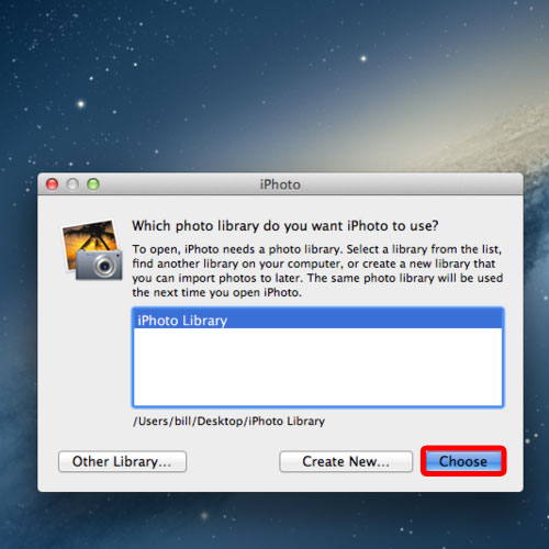 iphoto to use the library in the new location