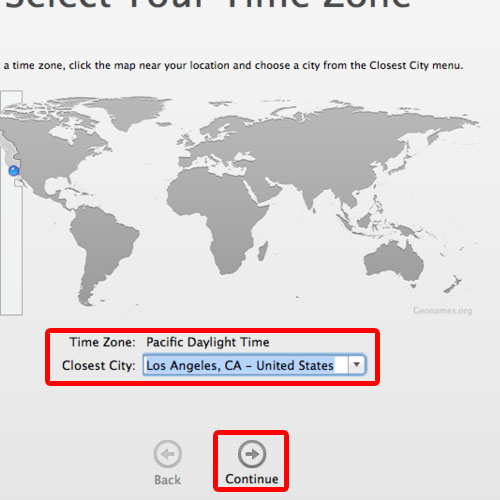 Select the time zone