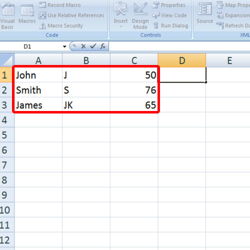 Insert values to enter in cell