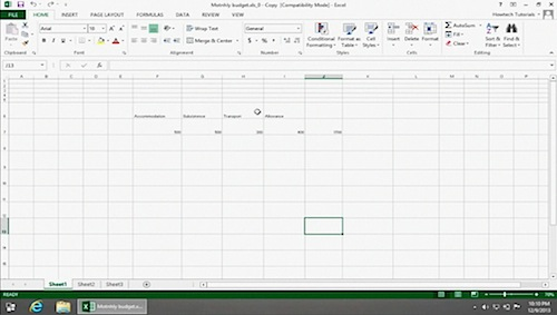 opening a worksheet in Microsoft Excel 2013