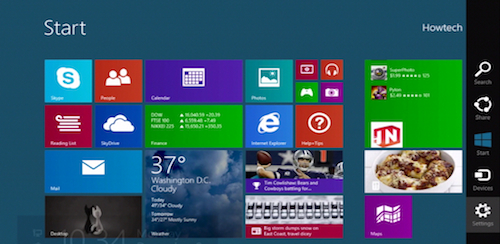 """clicking on """"Settings"""" charm in Windows 8.1"""