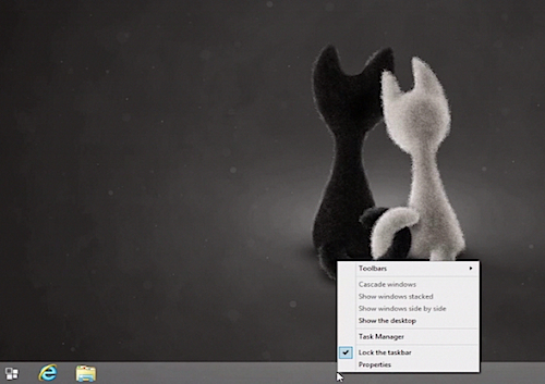 right-clicking the taskbar in Windows 8.1
