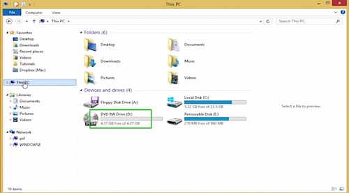 double-clicking the empty DVD icon in Windows 8.1