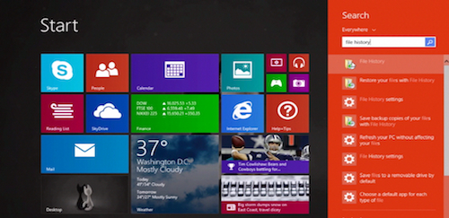 searching for File History using Windows 8.1