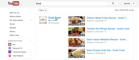 using keyword search to search for YouTube channels
