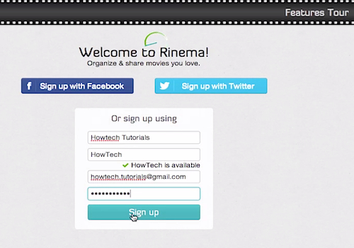 "creating an account on ""Rinema"""