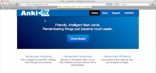 the website of Anki Flashcards learning system