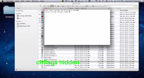 """typing the """"chf lags hidden"""" command followed by a single space in Terminal window on a Mac"""