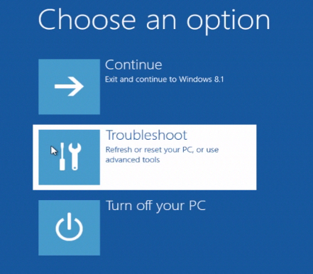 "selecting ""Troubleshoot"""