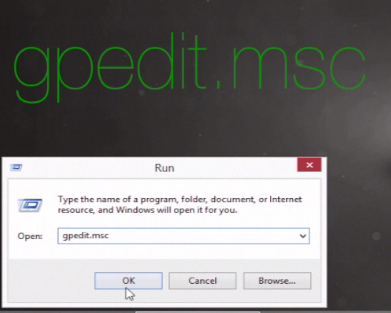 "typing  ""gpedit.msc""  in the ""Run"" window"