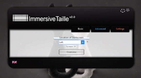 the  main menu of ImmersiveTaille app