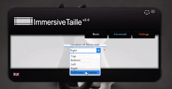 "choosing ""Fullscreen+Taskbar"" option from ImmersiveTaille's window"