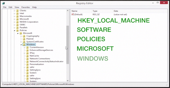 "navigating to "" Windows""  in the ""Registry Editor"" window"