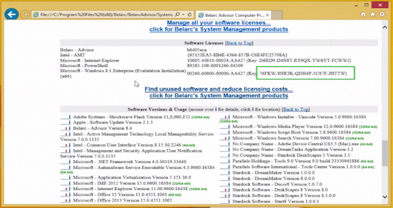 "product key displayed in ""Softwares Licenses"" section"
