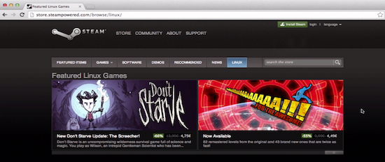 the webpage of Steam