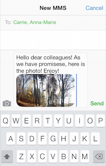 adding a photo to a new message on iPhone running on iOS 7