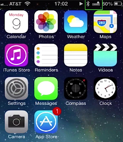 battery icon on iPhone running on iOS 7