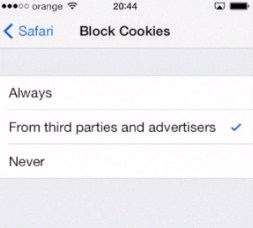 blocking cookies on iPhone running on iOS 7
