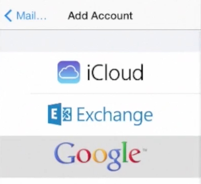 selecting Gmail as the account type on iPhone running on iOS 7