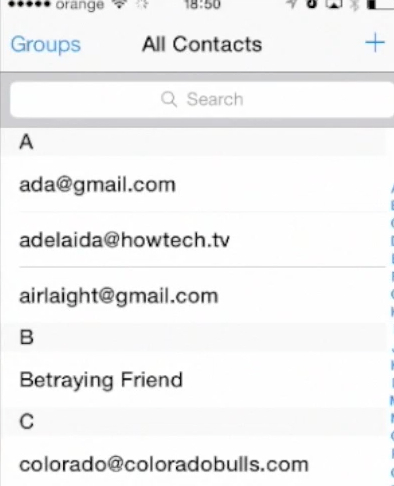 verifying imported Gmail contacts on iPhone running on iOS 7