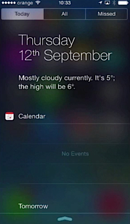 """Today"""" tab of Notification Center of iPhone running on iOS 7"""