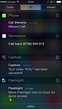 "All"" tab of Notification Center of iPhone running on iOS 7"
