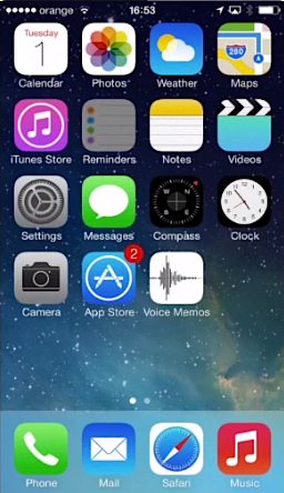 "opening  ""Reminders"" app on iPhone running on iOS 7"