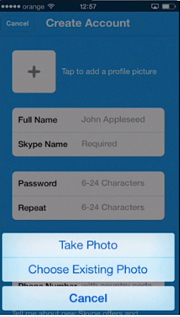 adding a profile picture to a new Skype account on iPhone running on iOS 7