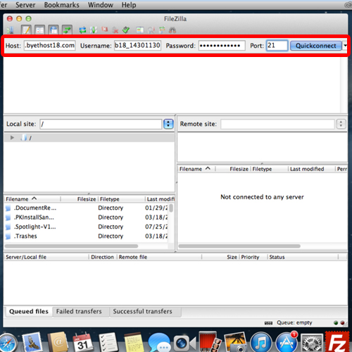 accessing the ftp server through filezilla's quick connect feature