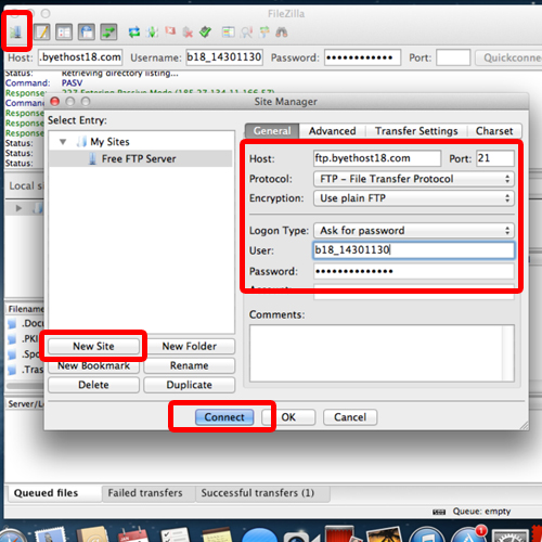 configuring the filezilla site manager feature