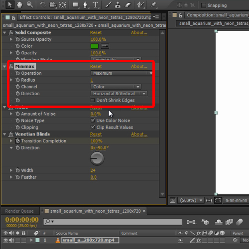 changing the minimax filter settings