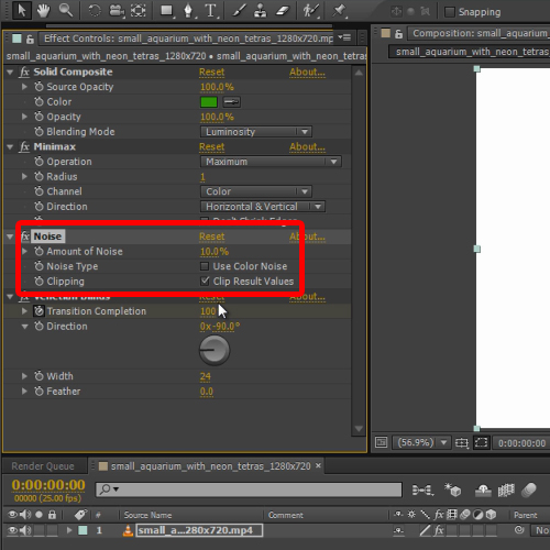 changing the noise filter settings