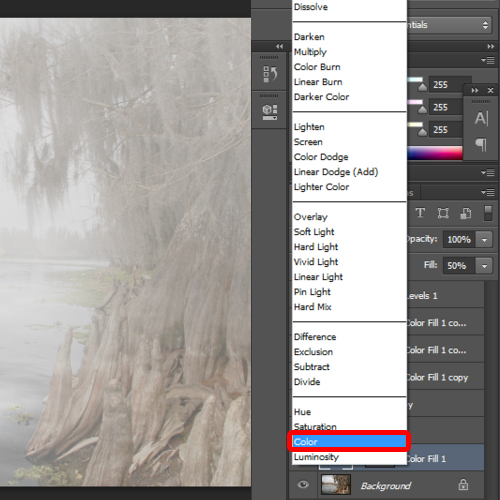 changing the blend mode of the color adjustment layer