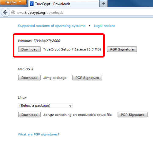 downloading the truecrypt application
