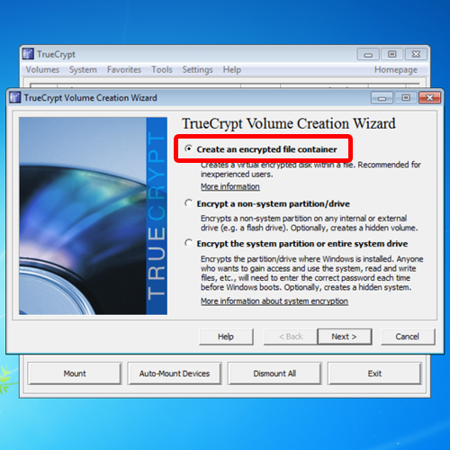 the truecrypt wizard welcome screen