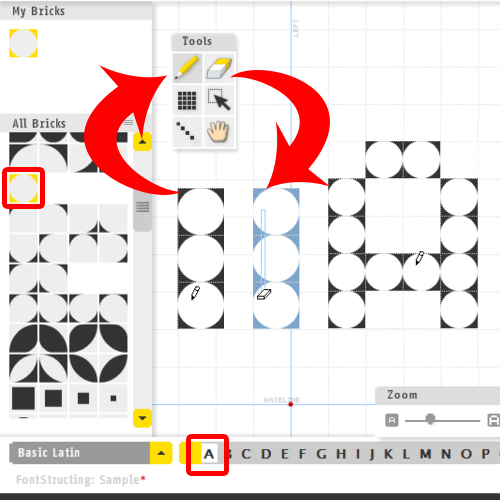 using the drawing tools in fontstruct