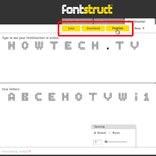 previewing, saving and downloading the fonts created