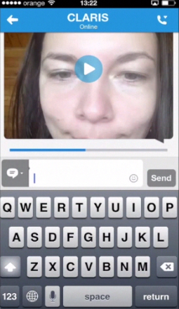 sending a video message via Skype chat on iPhone running on iOS 7