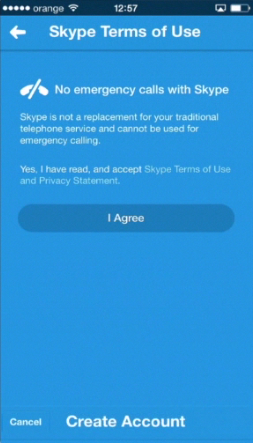 agreeing to Skype terms of use  on iPhone running on iOS 7