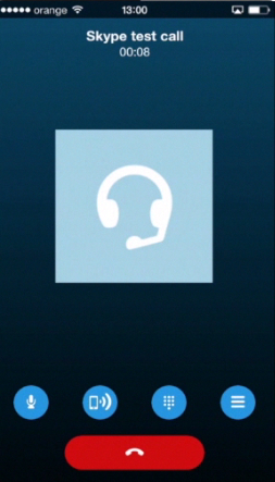 making a test Skype call on iPhone running on iOS 7